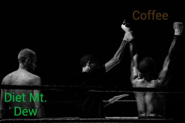 Boxing match - fighter labeled coffee winning over fighter labeled Diet Mt. Dew