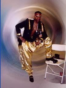 MC Hammer wearing parachute pants