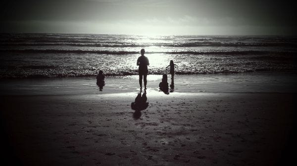 Mother and daughters at Cannon Beach