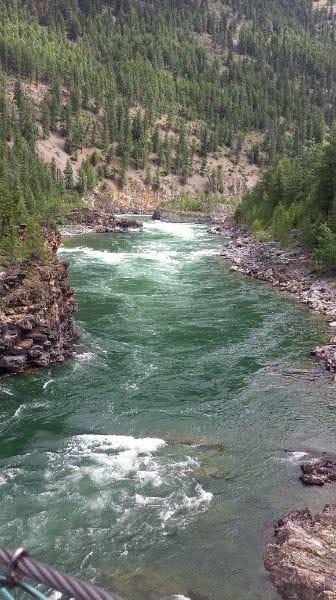 Swinging bridge over the Kootenai River
