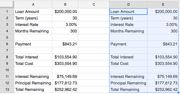 Screenshot of duplicated formulas for refinance comparison