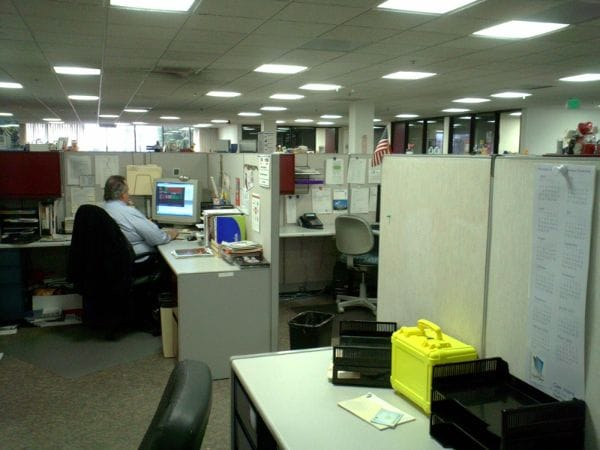 Picture of cubicles in an office