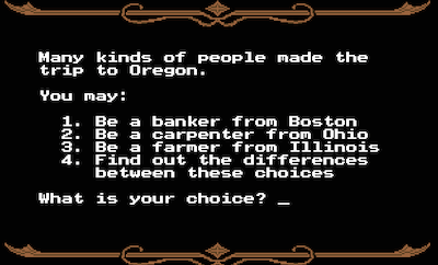 Screen for selecting your career in Oregon Trail