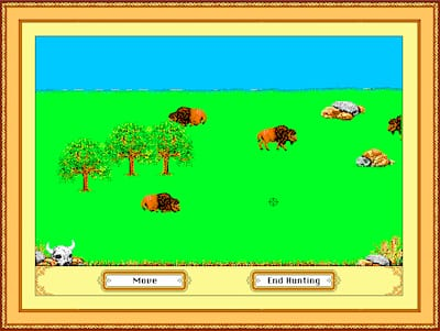 Screenshot of hunting bison in The Oregon Trail