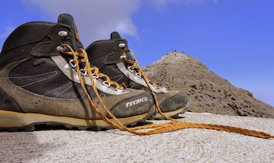 Hiking boots on a mountain