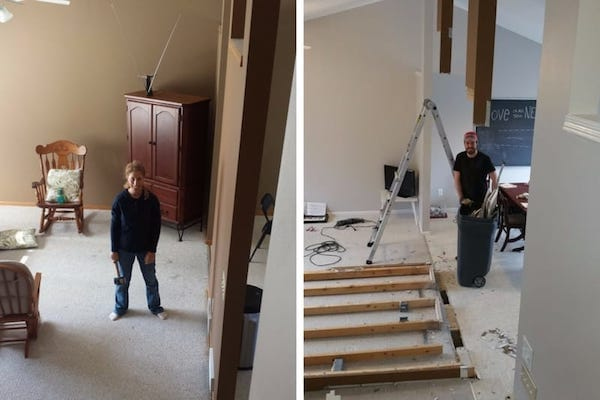 Before and after of taking down an interior wall - my wife in the before photo, me in the after
