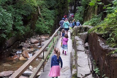 Hiking in Flume Gorge