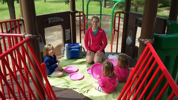 Picnic on a play structure