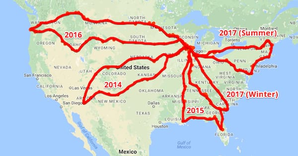 Map of USA with our routes on each trip. All that's left is California, Nevada, Alaska, and Hawaii
