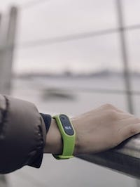 Fitness tracker on a wrist
