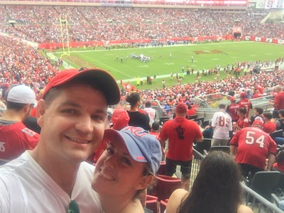 Sarah and Marc at a Buccaneers game