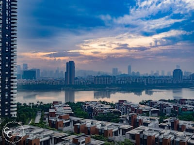 Skyline in China with river and skyscrapers
