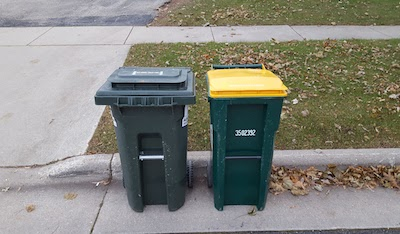 Our garbage can and recycling bin