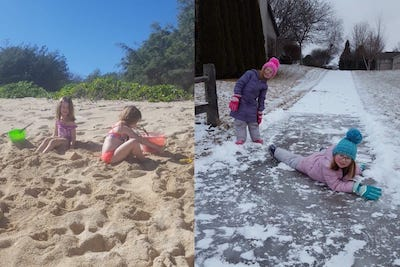 twins on the beach; twins in the snow