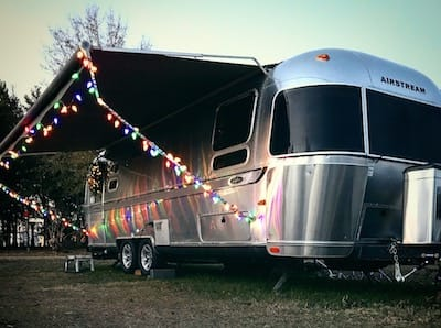 Airstream exterior with Christmas lights