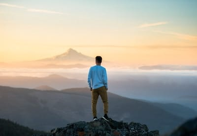 Man looking out over horizon