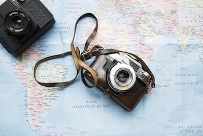Cameras on a world map