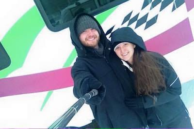 Jared and his girlfriend in the cold with winter jackets
