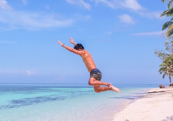 Jumping into the ocean