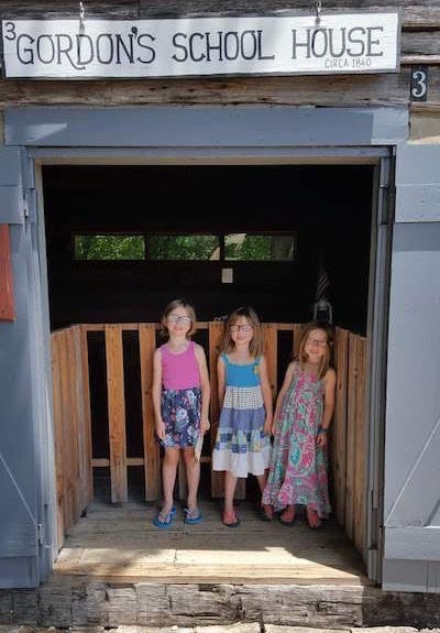 Girls at an old schoolhouse on our road trip