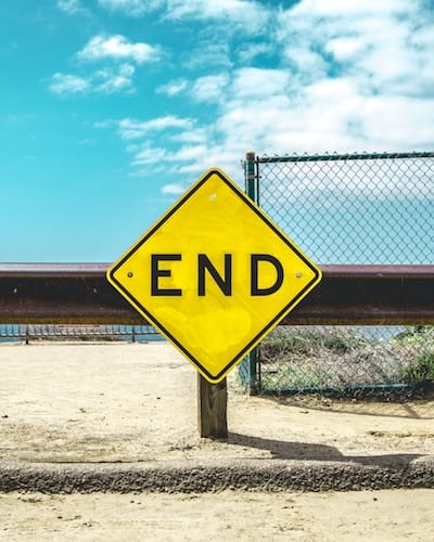 Street sign with word 'End' on it