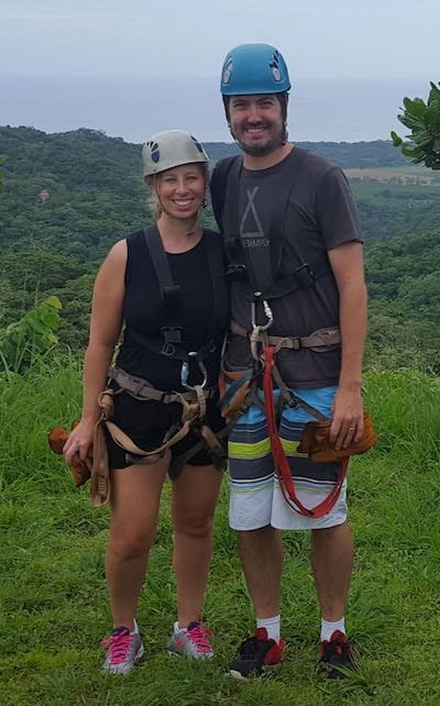 Chris and Jaime getting ready to zipline at Miss Sky Canopy Tour
