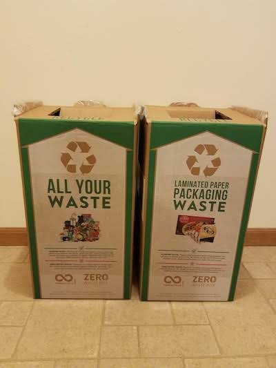 Two Terracycle boxes in our pantry - an all-in-one box and a laminated paper packaging box